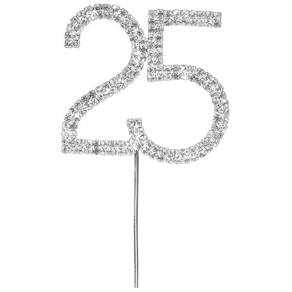 Diamante Number Cake Pick - 25