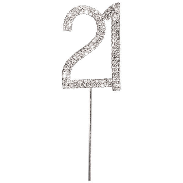 Diamante Number Cake Picks - 21