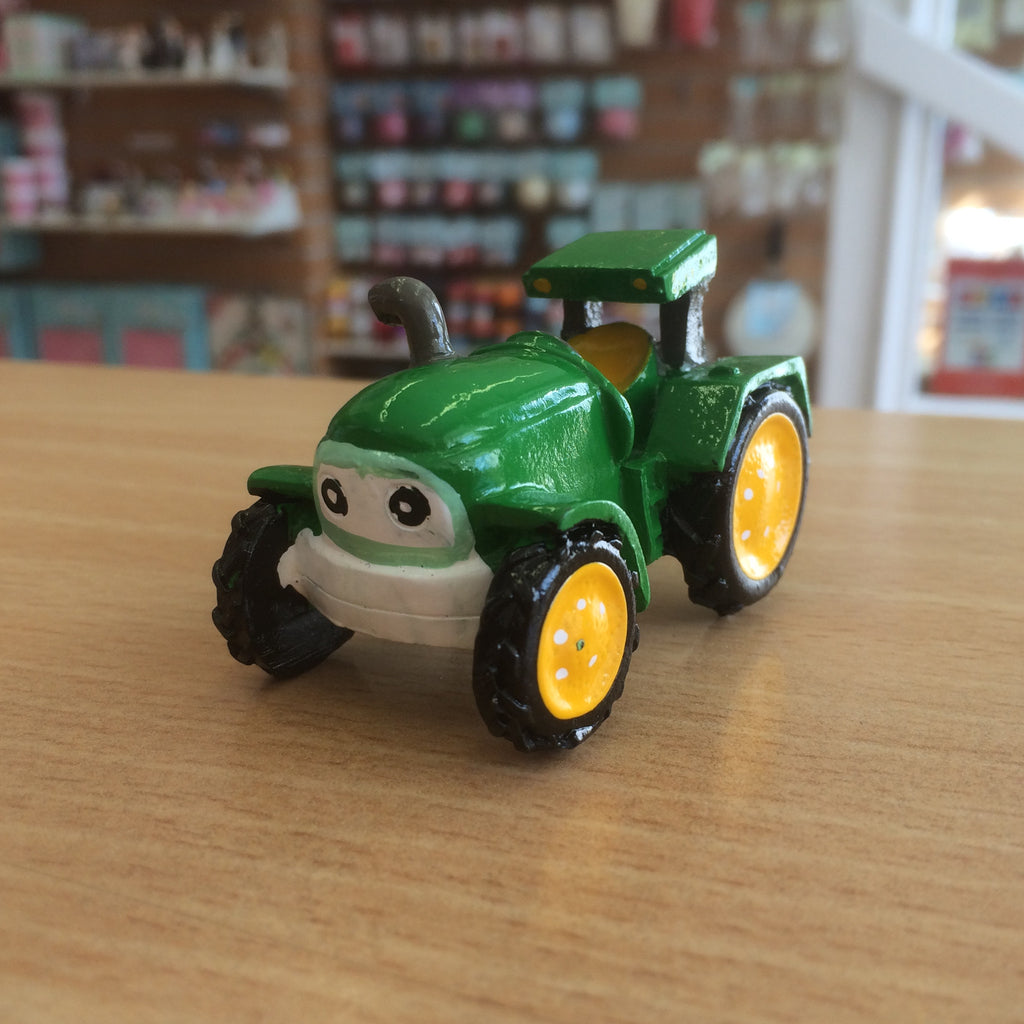 Resin Green Tractor Cake Topper