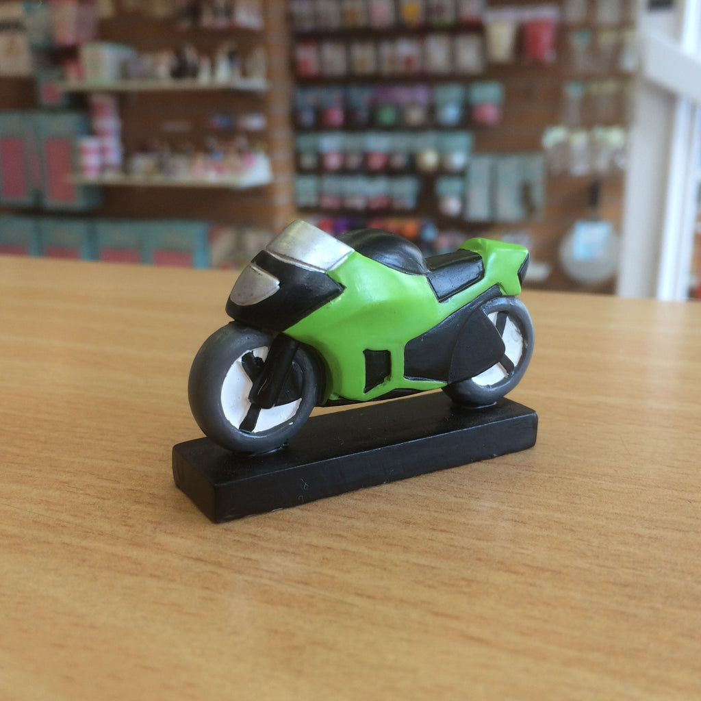 Resin Motorbike Cake Topper - Green