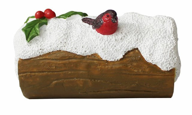 Robin on Snowy Log Christmas Cake Decoration