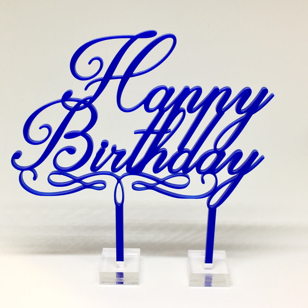 Happy Birthday Acrylic Cake Topper - Blue