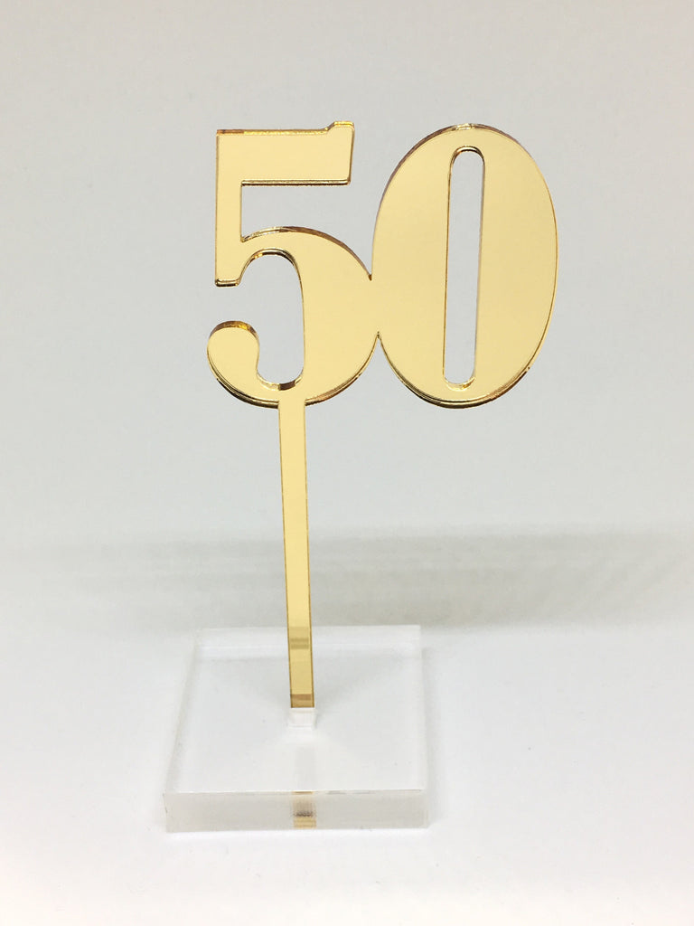 Gold Number 50 Acrylic Cake Topper
