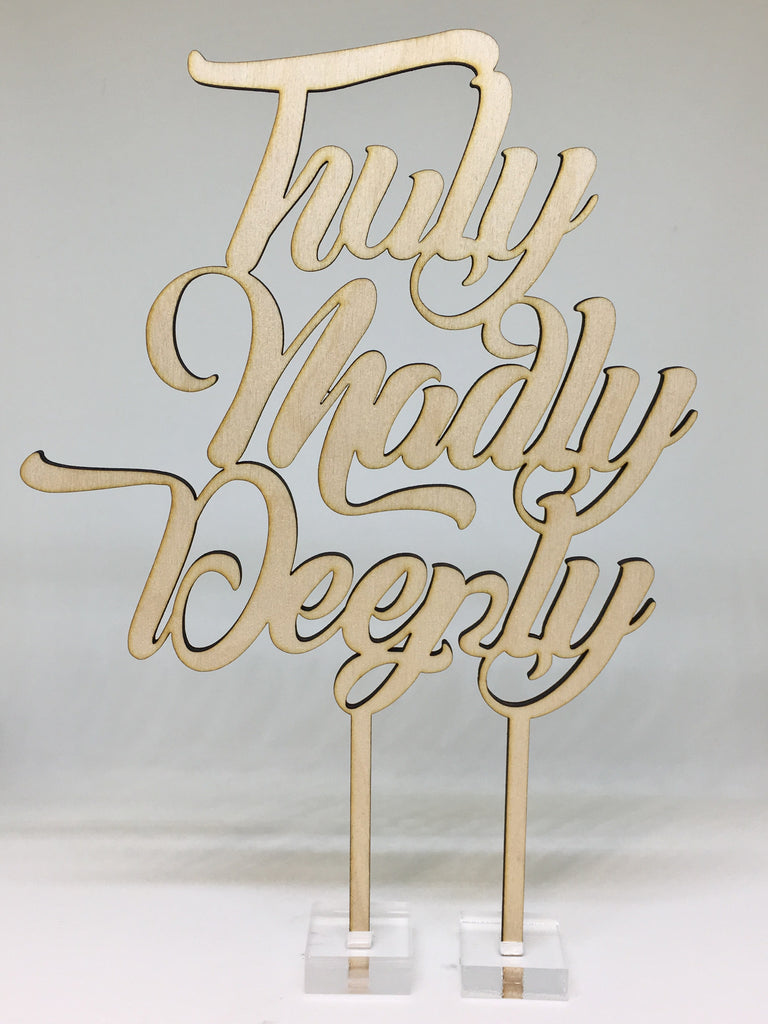 """Truly Madly Deeply"" Cake Topper"