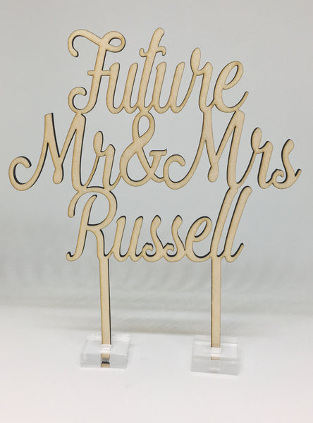 """Future Mr & Mrs"" Personalised Engagement Cake Topper"
