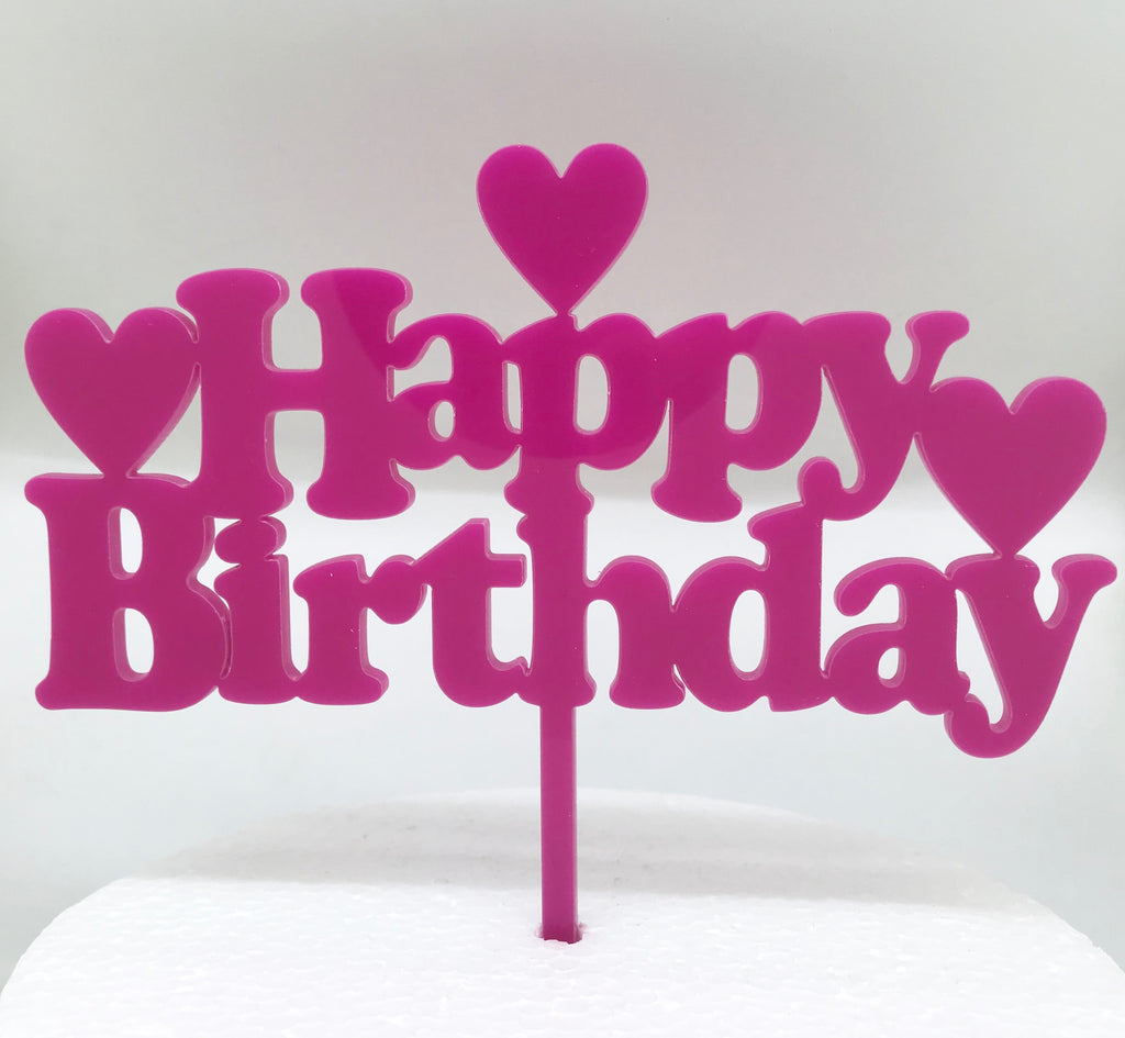 Happy Birthday With Hearts Acrylic Cake Topper