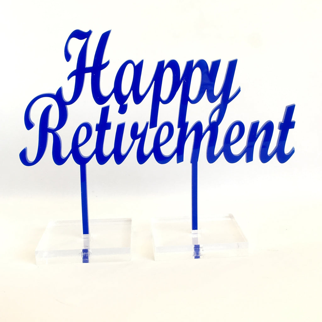 Happy Retirement Acrylic Cake Topper - Blue
