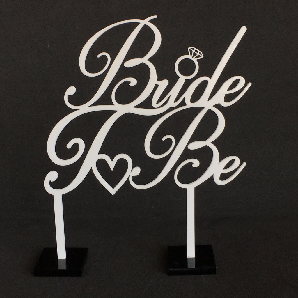 Bride To Be/Hen Party Acrylic Cake Topper - White