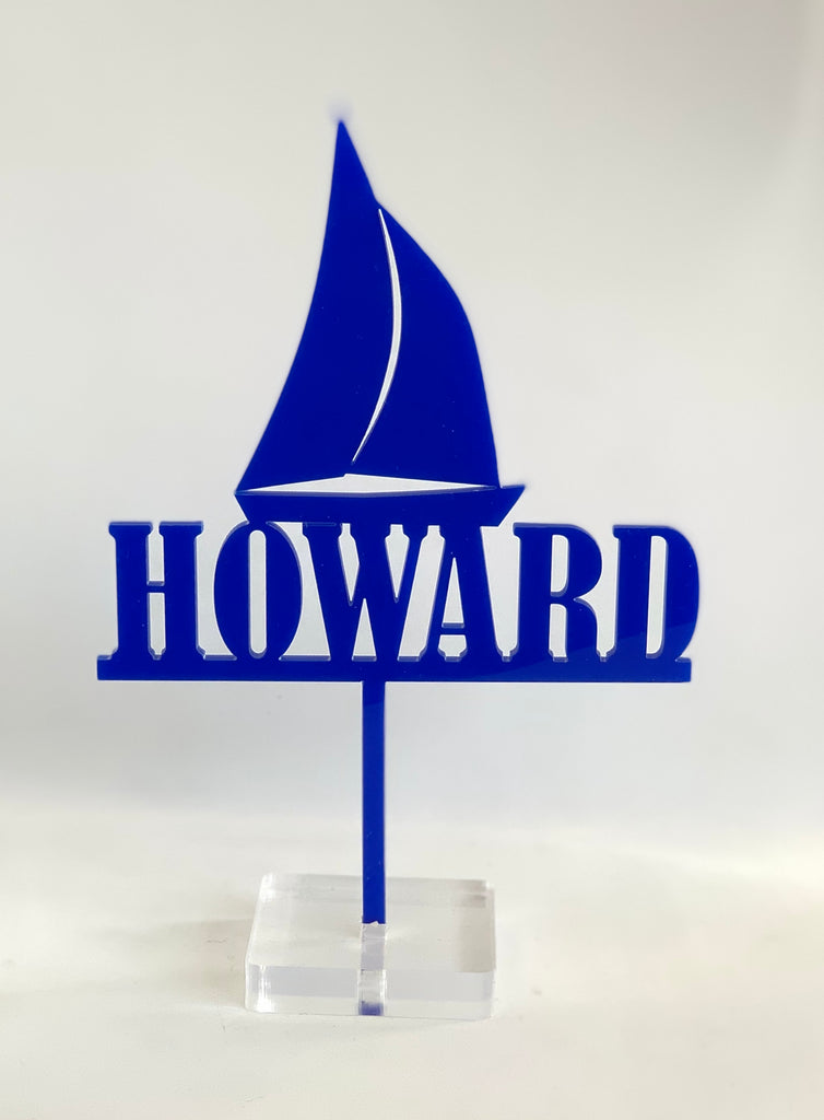Personalised Sailing Boat Acrylic Cake Topper
