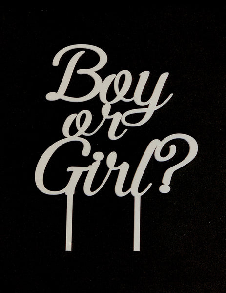 """Boy or Girl?"" Gender Reveal Acrylic Cake Topper"