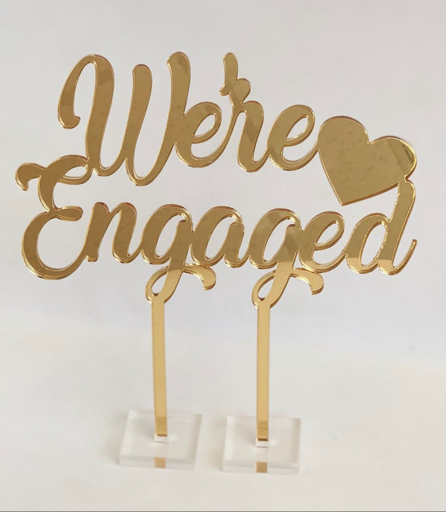"""We're Engaged"" Cake Topper"