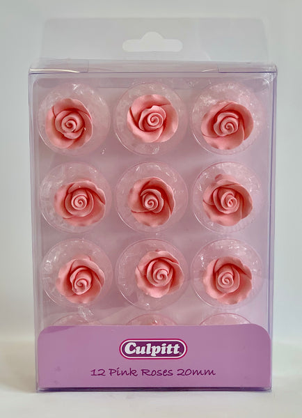 Pink Sugar Roses 20mm - 12 pieces