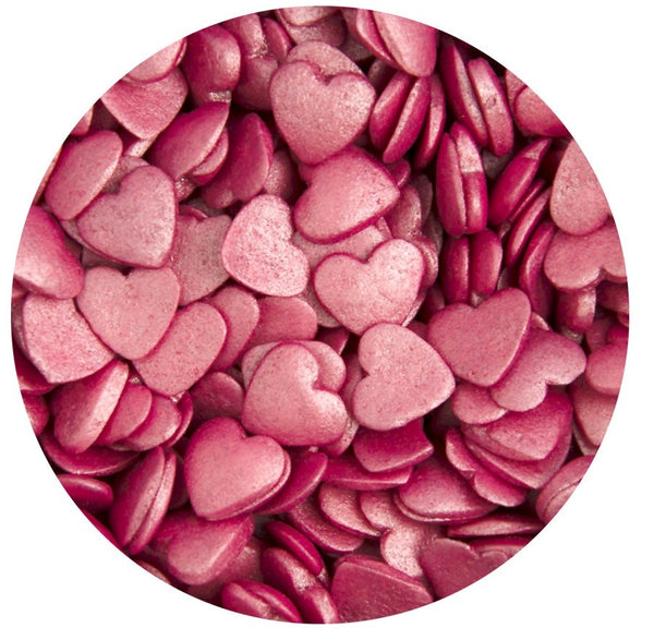 Glimmer Hearts Sprinkles - Deep Pink