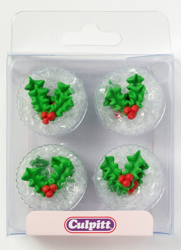 Holly and Berry Sugar Pipings 12 Piece