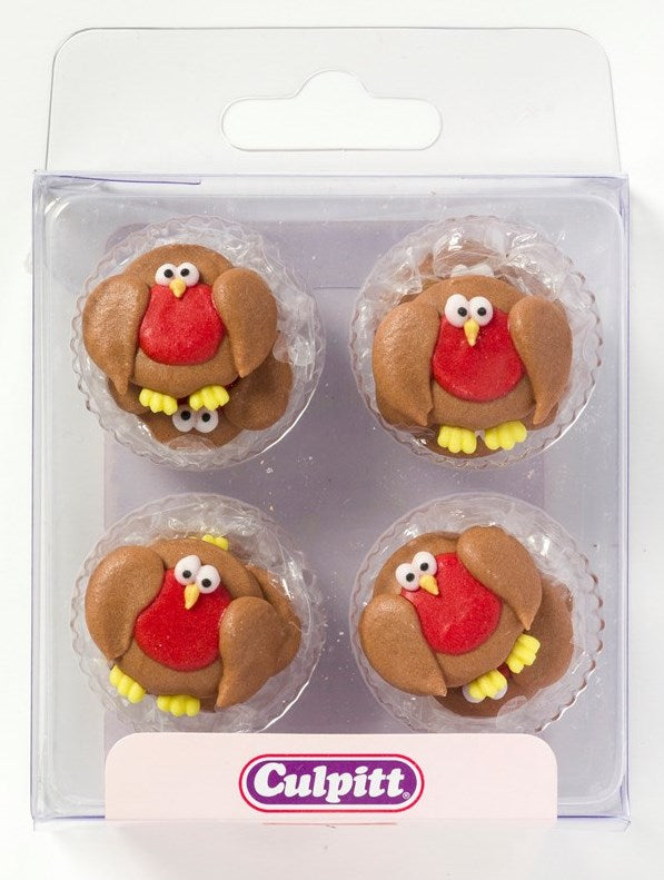 Christmas Robin Sugar Pipings 12 Piece
