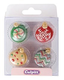 Christmas Bauble Sugar Pipings 12 piece