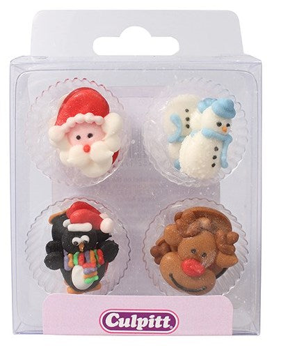 Santa & Christmas Friends Sugar Pipings 12 piece