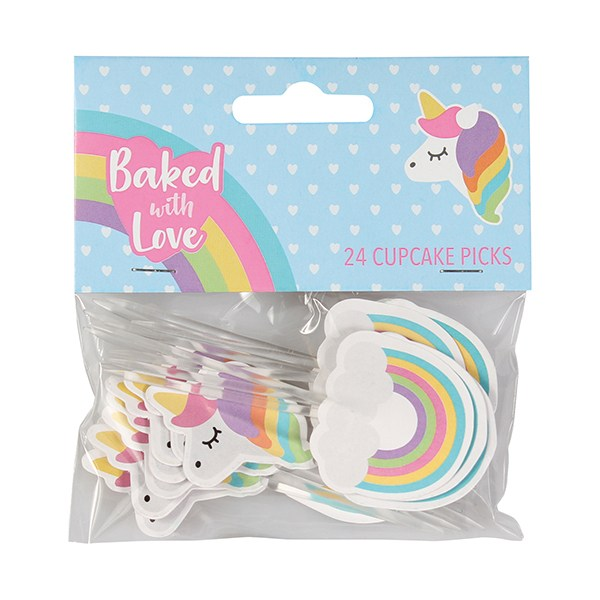 Baked with Love Unicorn and Rainbow Decorative Pic
