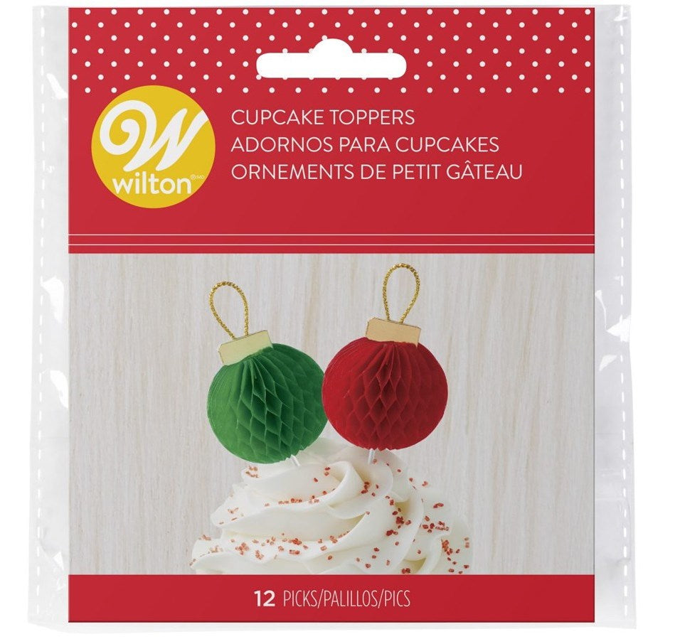 Wilton Honeycomb Christmas Bauble Cake Toppers