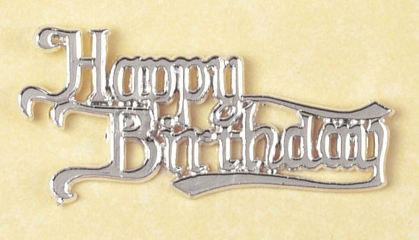 Happy Birthday Silver Coloured Motto