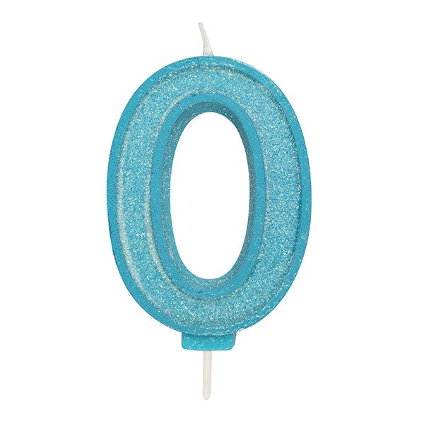 Blue Sparkle Numeral Candle - Number 0