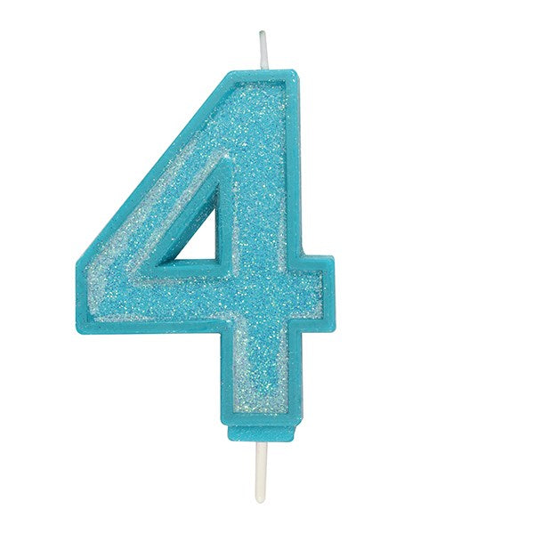 Blue Sparkle Numeral Candle - Number 4