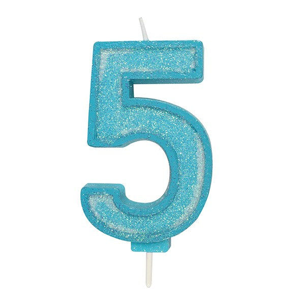 Blue Sparkle Numeral Candle - Number 5