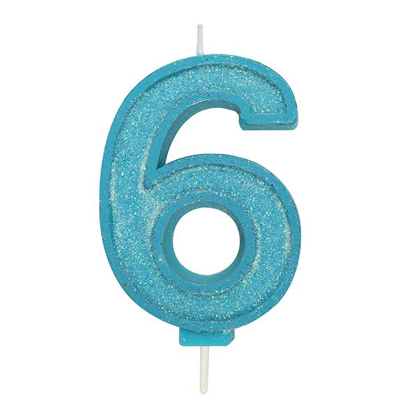 Blue Sparkle Numeral Candle - Number 6