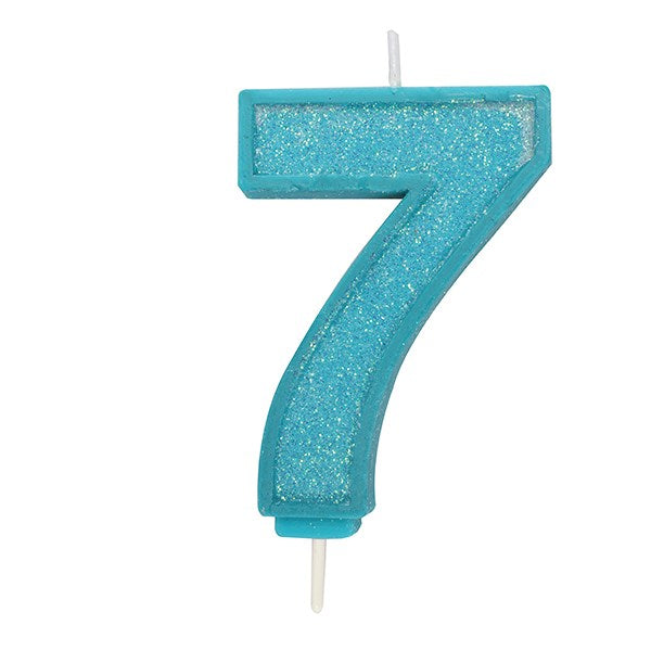 Blue Sparkle Numeral Candle - Number 7