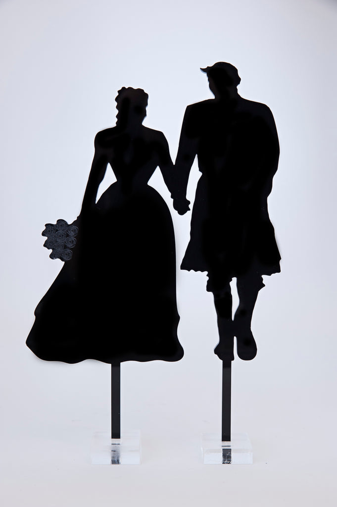 Silhouette Bride and Scottish Groom in Kilt Acrylic Cake Topper