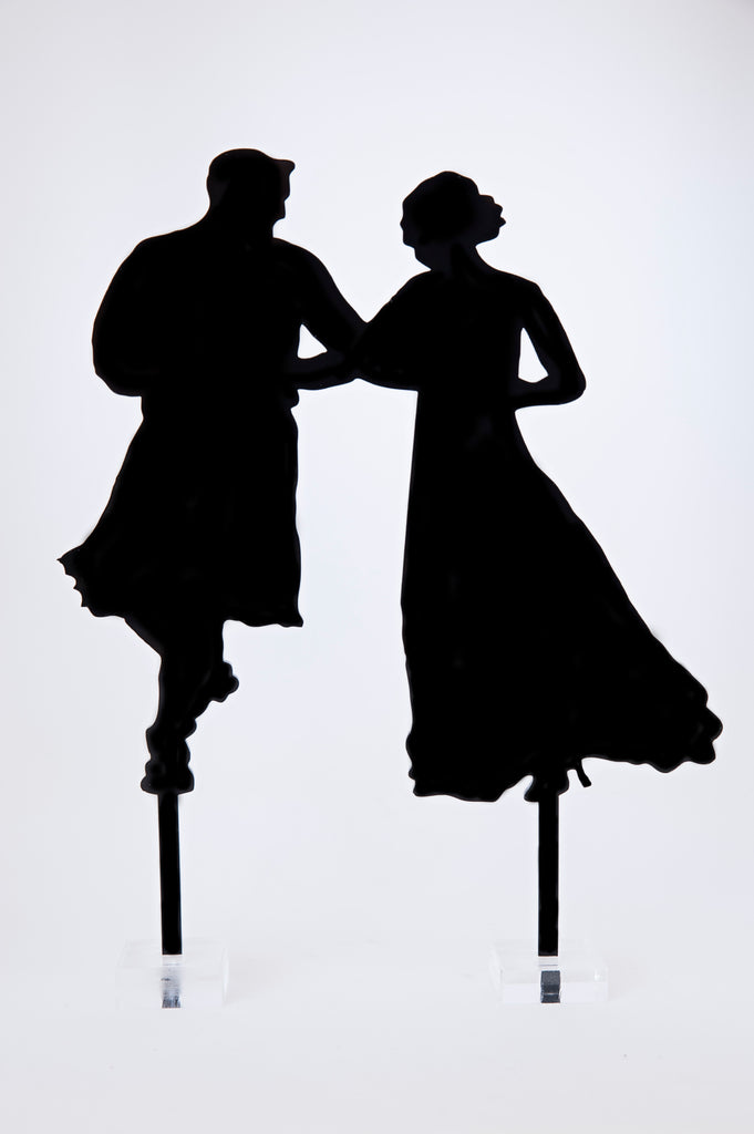 Silhouette Dancing Bride and Scottish Groom in Kilt Acrylic Cake Topper