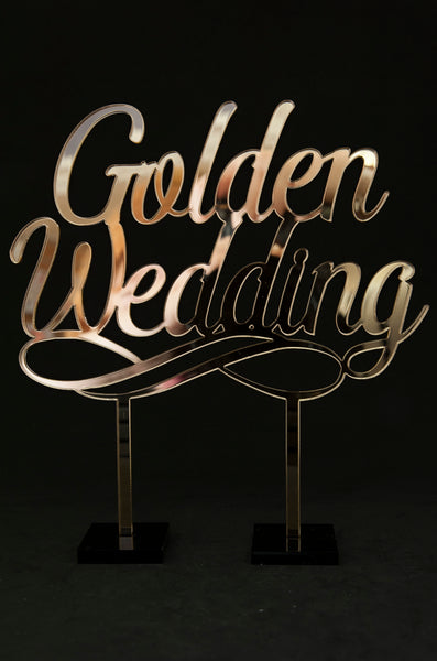 """Golden Wedding"" Acrylic Cake Topper"