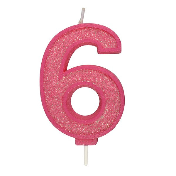 Pink Sparkle Numeral Candle - Number 6