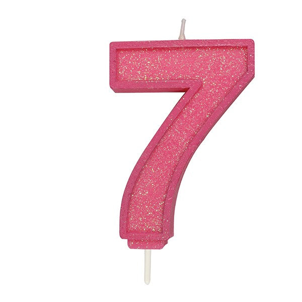 Pink Sparkle Numeral Candle - Number 7
