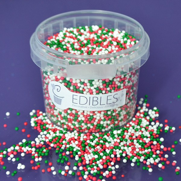 Purple Cupcakes Nonpareils - Christmas Mix