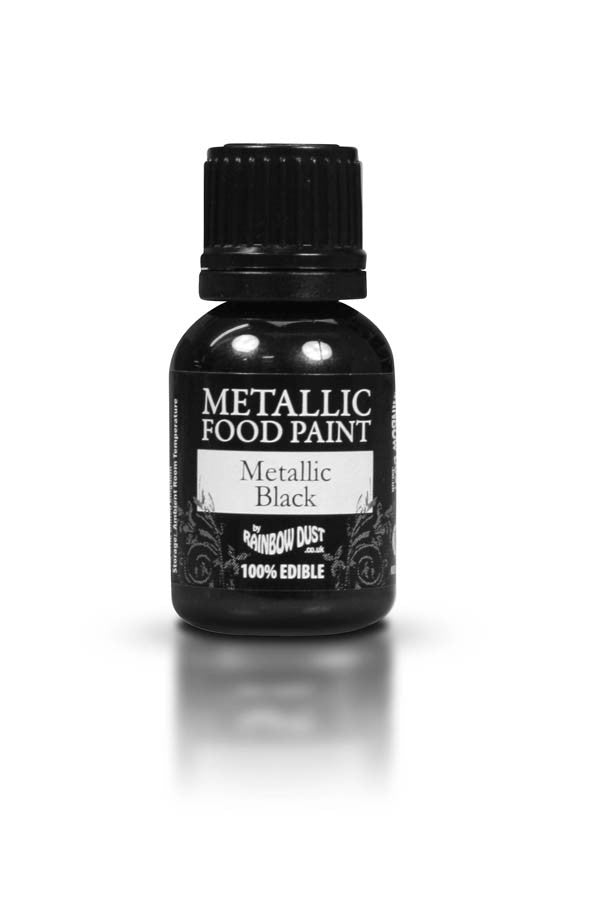 Rainbow Dust Metallic Food Paint - Metallic Black 25ml