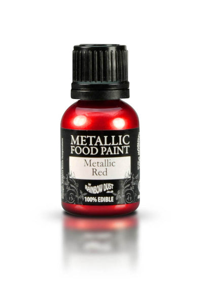 Rainbow Dust Metallic Food Paint - Metallic Red 25ml