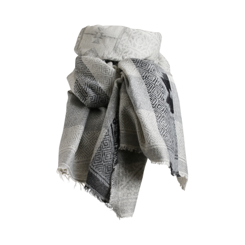 Stylesnob AW17 - Ale scarf grey with printed pattern