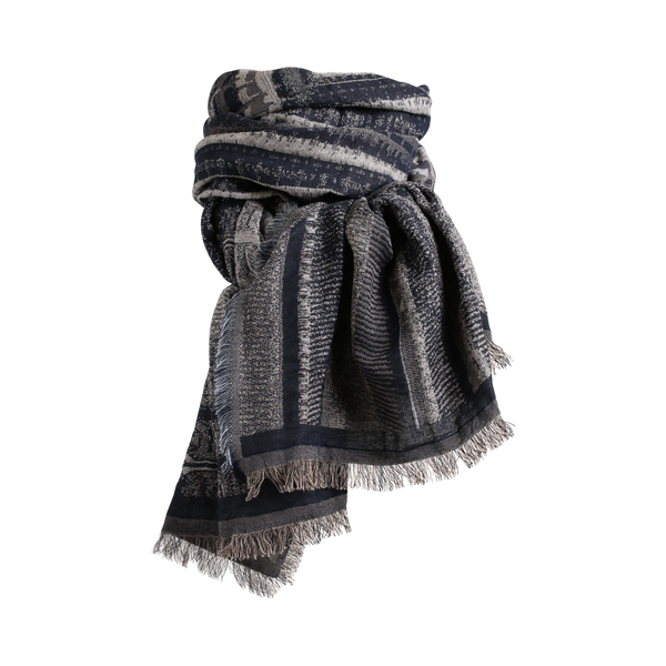 Stylesnob AW17- Della Scarf Bule Grey, colorfull weaved scarf with fringes