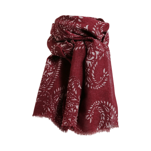 Stylesnob AW17 - JIN a soft paisley printed woolen scarf, burgundy