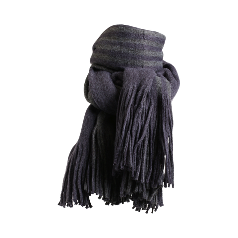 Stylesnob AW17 - Kane oversized scarf with big fringes, blue and grey