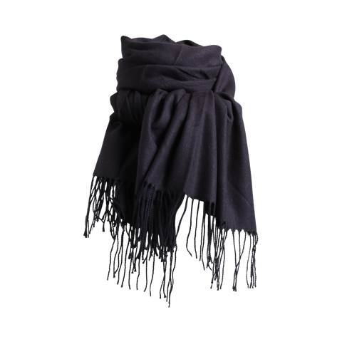 Stylesnob AW17 - Lipa a soft wollen scarf with fringes in dark blue