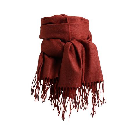 Stylesnob AW17 - Lipa a soft wollen scarf with fringes in rust