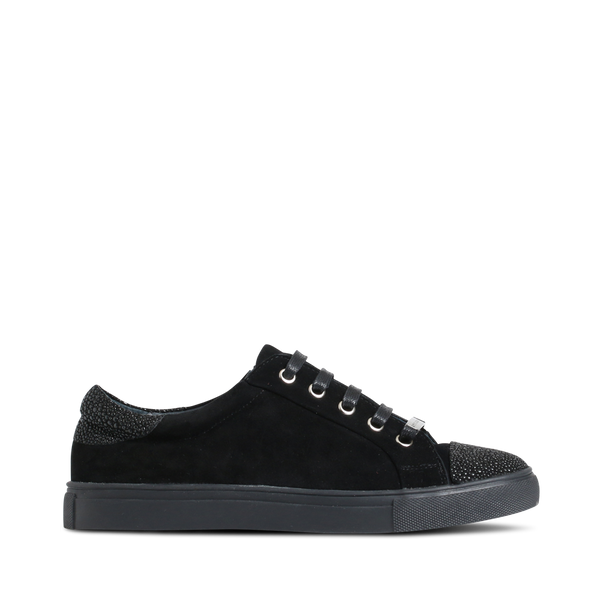Stylesnob AW17 - Olivia a pair of cool black suede sneaker with stingray front and heel