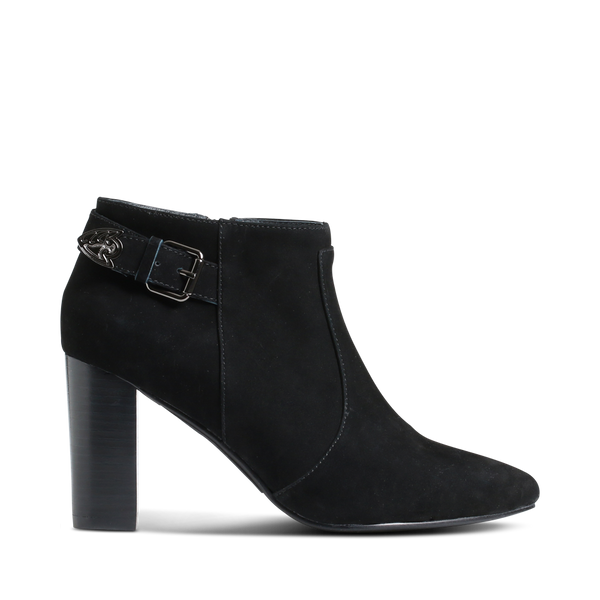 Stylesnob AW17 - Tris a trendy low-cut bootie made in nub with rough strap decor.