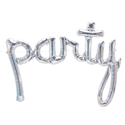 Party Script Holographic (112 cm) for luftfylling - Festbutikken AS