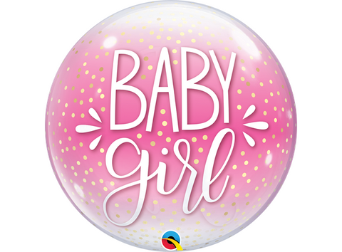 Baby Girl Pink & Confetti Dots Bubbles
