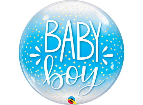 Baby Boy Blue & Confetti Dots Bubbles
