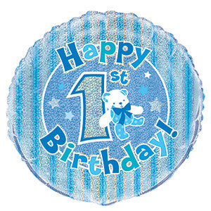 Folieballong 1St Birthday Blue Prismatic 46cm - Festbutikken AS