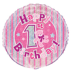 Folieballong 1St Birthday Pink Prismatic 46cm - Festbutikken AS